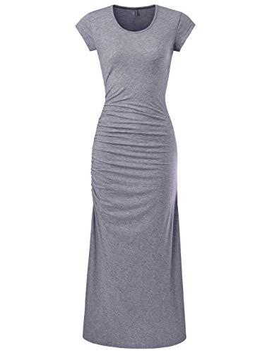 NEARKIN (NKWBD906 Womens Cap Sleeve Side Shirring Casual Maxi Dress Gray US L(Tag Size XL)