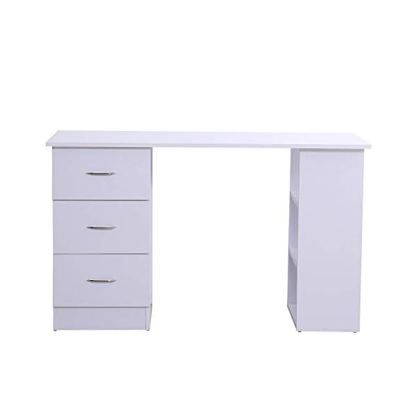 HOMCOM Bureau Informatique Table Multi-Fonctions 3 tiroirs 2 étagères dim. 120L x 49l x 72H cm Panneaux de Particules…