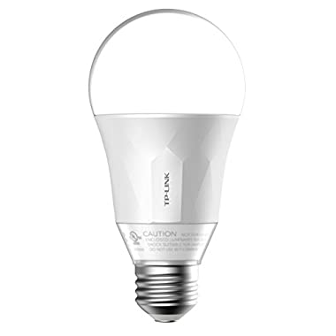 TP-Link Smart Wi-Fi A19 LED Bulb, Works with Alexa, 2700K Dimmable White, No Hub Required, 50W Equivalent,1-Pack (LB100)