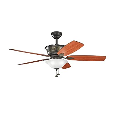Kichler Lighting 300159OZ Tolkin 52-Inch Ceiling Fan, Olde Bronze Finish with Reversible Walnut/Cherry Blades and Integrated Up and Downlights