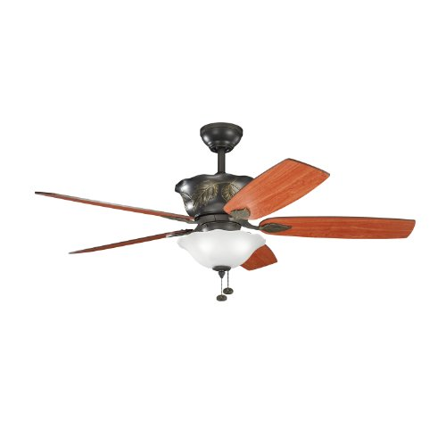 Kichler Lighting 300159OZ Tolkin 52-Inch Ceiling Fan, Olde Bronze Finish with Reversible Walnut/Cherry Blades and Integrated Up and - Cherry Bronze Pendant