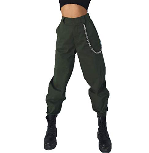 RUEWEY Women High Waist Hip Hop Dance Tapered Cargo Jogger Pants Trousers with Chain Harem Baggy Jogging Sweatpants (M, Army Green)