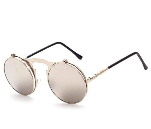 Lunettes métal Lunettes de de Rondes Sunglasses Cadre Doré Lens en Lunettes Steampunk Vintage protection Gris Retro soleil Hommes Women rtIHwI
