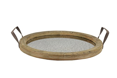 Stonebriar Round Brown Wood Serving Tray with Metal Handles and Distressed Mirror, Rustic Butler Serving Tray, Vintage Centerpiece or Candle Holder, Small ()