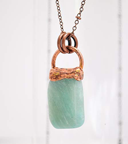 Amazonite Gemstone Copper Electroformed Pendant Necklace