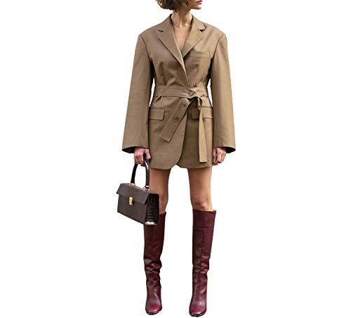 Fabric 2019 Women Blazers Suits Khaki Loose Designs Business Ladies Casual Suits Daily Clothing,Khaki,L