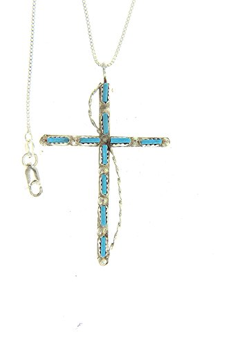 By Zuni Artist Laura Paylusi Beautiful: Sterling-silver Zuni Indian Made Needle Point Turquoise Cross Pendant-necklaces ()