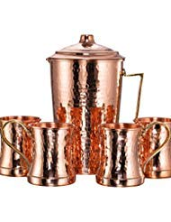NEW DEMMEX CopperBull Heavy Gauge 100% Pure Solid Hammered Copper Moscow Mule Water Serving Set (Pitcher & 4 Mugs) by DEMMEX (Image #1)