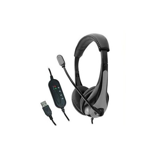 Avid Technology Education Headphones With Microphone   Stereo   Black  Gray   Usb   Wired   Over The Head   Binaural   Circumaural   Noise Cancelling Microphone   Ae 39