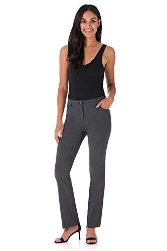 Rekucci Women's Iconic Stretch 5 Pocket Straight Leg Pant w/Zipper Closure - Detail Leg Wide Trousers