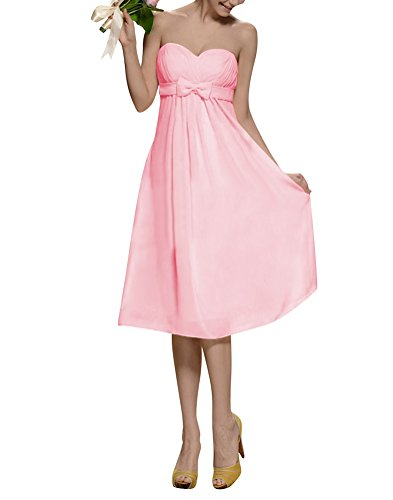 WeiYin Women's Sweetheart Chiffon Short Cocktail Party Dress Bridesmaid Dresses Pink US12