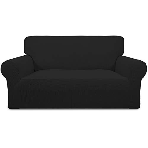 Easy-Going Stretch Sofa Slipcover Sofa Cover Furniture Protector Couch Soft with Elastic Bottom Anti-Slip Foam Kids,Polyester Spandex Jacquard Fabric Small Checks(loveseat,Black)