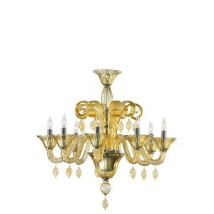 Cyan Lighting 6493-8-14 Treviso - Eight Light Chandelier, Chrome Finish with Amber Murano Glass with Amber Murano (Amber Murano Glass Crystal)