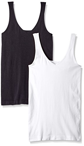 ELLEN TRACY Women's Seamless Reversible 2 Pack Camisole, Black/White, S