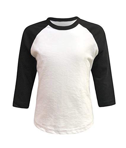 Kids Baseball Raglan T-Shirt 3/4 Sleeve Infant Toddler Youth Athletic Jersey Sports Casual (10+ Colors) (Y-Large, White/Black)