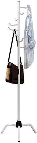 玄関収納 耐久性のある立っている金属コートラックハットハンガー8フックジャケット財布スカーフラック傘ツリースタンド (Color : White, Size : 50×178.5cm)