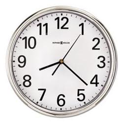 Hamilton Wall Clock, 12, Silver, 1 AA