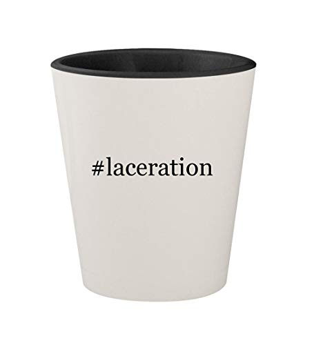 Probaby Boots Lacer - #laceration - Ceramic Hashtag White Outer & Black Inner 1.5oz Shot Glass