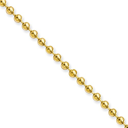 22' Steel Bead Chain (Stainless Steel IP Gold-plated 3mm Ball Chain 22'' inches length)