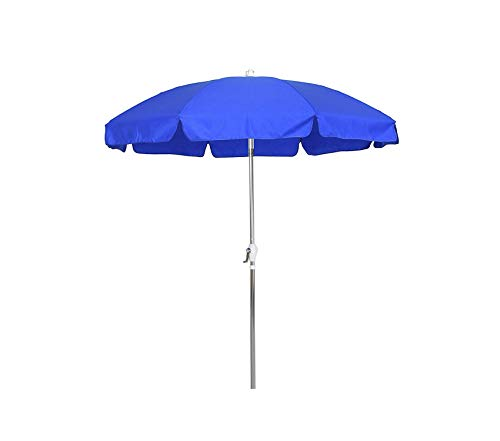 Wood & Style Patio Outdoor Garden Premium 7.5' Round Aluminum Patio Umbrella with Valance, Crank Lift, 3-Way Tilt, Silver Pole, Royal Blue Olefin