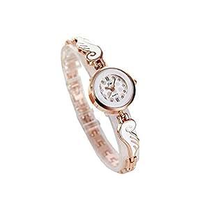 Women Rhinestone Round Quartz Chain Watch Bracelet Jewelry Luxury Wrist Watches for Ladies Golden