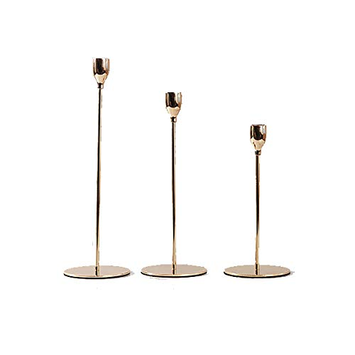 Genteltimes New Modern Style Gold Metal Candle Holders Wedding Decoration Bar Party Home Decor Candlestick (3PCS/LOT) by Genteltimes