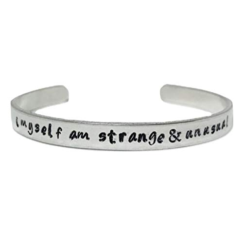 Beetlejuice Hand Stamped Strange and Unusual Lydia Deetz Quote Cuff -