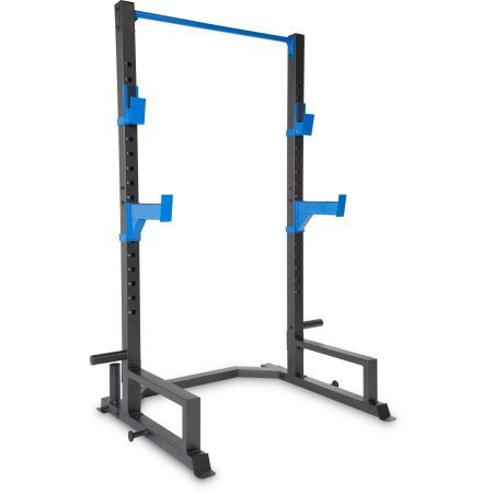 Deluxe Power Cage Fitness Exercise Cardio Workout Training Home Gym Equipment Steel Construction Oversized Tubing, Powder Coated Finish, Metallic Finish with Blue Accents Olympic Plate and Bar Storage price