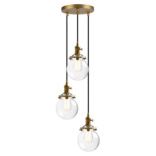 (Phansthy Small Chandelier Antique Brass 3 Lights Ceiling Light with 5.9 Inches Clear Glass Globe Light Shade)
