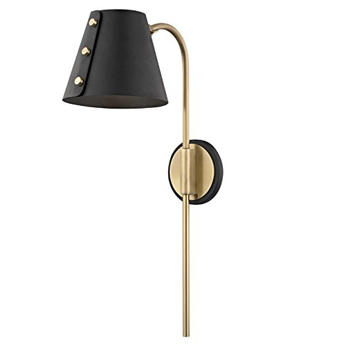 Mitzi Meta Aged Brass and Black LED Swing Arm Wall Lamp ()