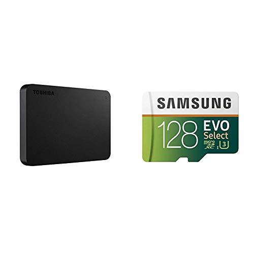Toshiba HDTB420XK3AA Canvio Basics 2TB Portable External Hard Drive USB 3.0, Black & Samsung 128GB 100MB/s (U3) MicroSD EVO Select Memory Card with Adapter (MB-ME128GA/AM)
