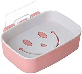 ソープディッシュ 3PCかわいいスマイリーフェイスの形プラスチックソープボックスステッカーソープホルダーシンクドレンソープディッシュ浴室の壁のソープケース バスルームソープボックス (Color : White)