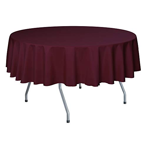 Ultimate Textile -10 Pack- 72-Inch Round Polyester Linen Tablecloth, Ruby (Ruby Red Overlay)