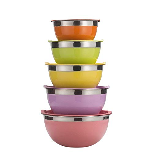 Piece 5 Bowls Salad (Sauran 5 Piece Mixing Bowls Large 5 Quart Capacity Stainless Steel Bowl Set With Colorful Lids for Kitchen, Camping and Food Storage and Cotton Towel as Gift by Free)