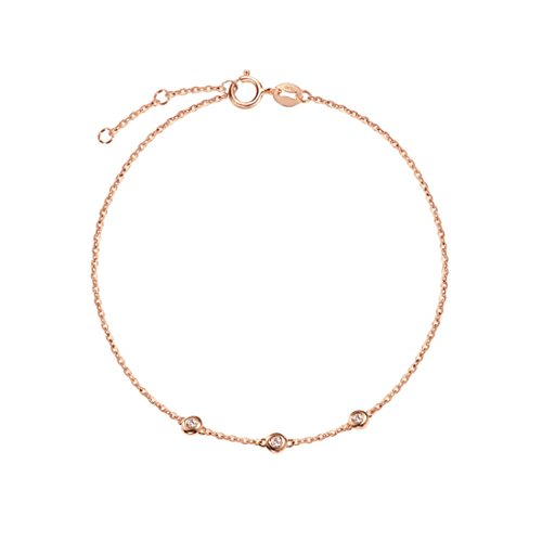 Carleen 18K Solid Rose Gold Three Round Dot 0.045 ct Diamond Bracelet Minimalist Dainty Delicate Fine Jewelry for Women Girls