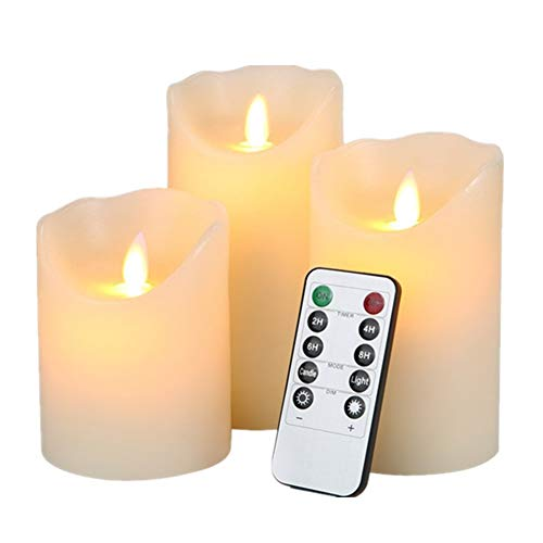 HEIOKEY Electronic LED Candle Set of 3 (4 5 6) Real Wax Moving Wickess LED Flameless Candles Pillar Lights Battery Operated with Timer and Remote Control for Gifts and Decoration(Ivory White)