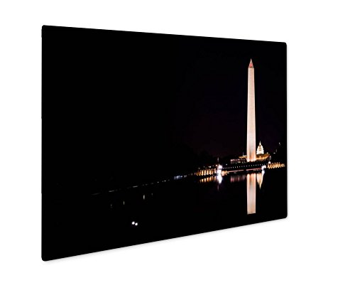 Ashley Giclee Metal Panel Print, Washington Monument National Mall Reflecting Pool Night Contrast, Wall Art Decor, Floating Frame, Ready to Hang 8x10, - Federal Mall Way