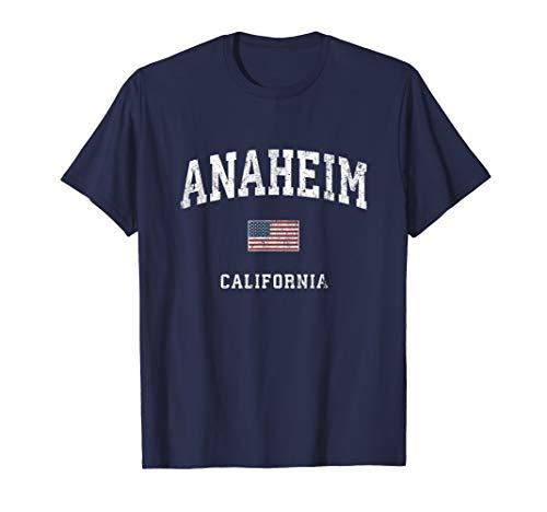 - Anaheim California CA Vintage American Flag Sports Design T-Shirt