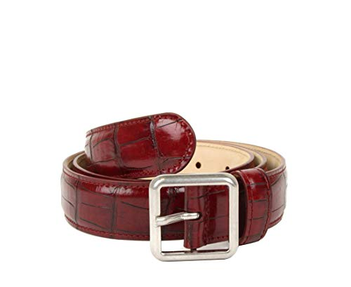 - Balenciaga Burgundy Crocodile Stamped Leather Belt 460333 6410 (95 / Men's 38)