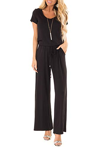 sullcom Women Summer Solid Sleeveless Wide Leg Jumpsuit Casual Spaghetti Strap Stretchy Long Pant Rompers (Small, B-Black)