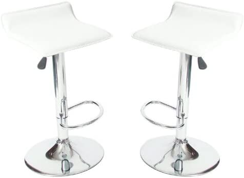 jersey seating 2 x Vinyl Air Lift Adjustable Swivel Bar Stools, Pack of 2 2002 White