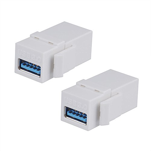 BATIGE 2-PACK USB 3.0 Keystone Jack Female Coupler Insert Snap-in Connector Socket Adapter Port For Wall Plate Outlet Panel - White (Plate Wall Coupler)