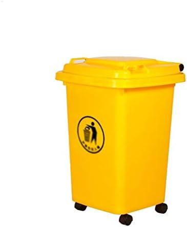 滑らかな表面 ホテルレストランパーク古紙バスケットを移動するための車輪付きゴミ箱、屋内大容量キッチンのゴミ箱簡単 リサイクル可能なデザイン (Color : Yellow, Size : 50L)