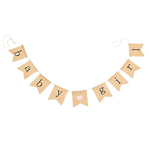 Girl Baby Shower Banner (Junxia Baby Girl Burlap Banner - Decorations for Baby)