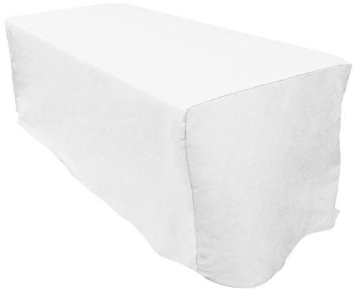 Zoyer 6 ft. Fitted Tablecloth - Fitted White Tablecloth 30 x 72 Inch 6 Feet Rectangular Table Cover- White