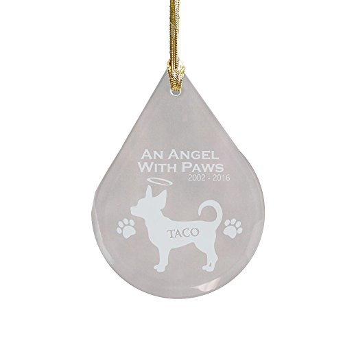 GiftsForYouNow Chihuahua Dog Memorial Tear Drop Personalized Ornament, Glass