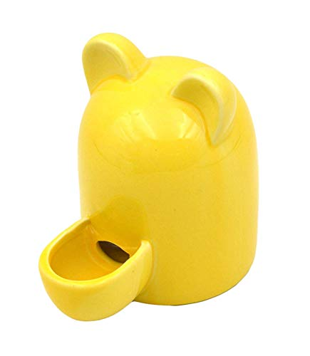 (MONMOB Ceramic Automatic Pet Water Feeder Slient Water Feeder Bird Drinking Bottle Water Bottle for Small Animal with Cute Ear (Yellow))