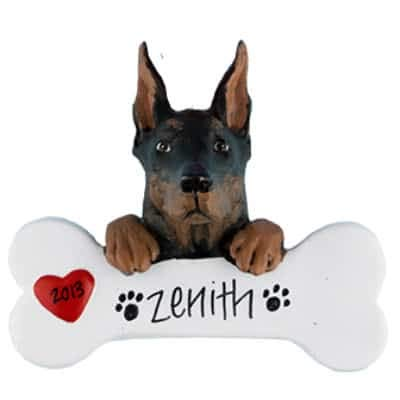 Doberman Pincher Personalized Ornament - (Unique Christmas Tree Ornament - Classic Decor for A Holiday Party - Custom Decorations for Family Kids Baby Military Sports Or Pets) ()