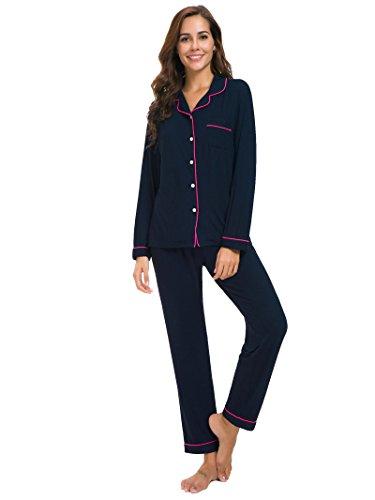 (SIORO Womens Cotton Pajamas Long Sleeve Pajamas PJ Set Soft Knit Loungewear Sleepwear Sets for Women, Navy with Fuchsia Piping, L )