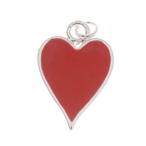 Delight Beads Silver Plated with Enamel Red Hearts Playing Card Suit Charm (1) (Card Suit Jewelry)